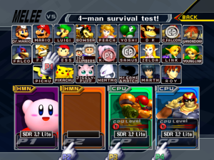 This is what the character select screen looks like after activating SD Remix Lite.